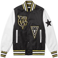 Givenchy Leather Sleeve Patch Varsity Jacket Black