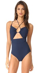Michael Kors Collection Halter One Piece Swimsuit Maritime