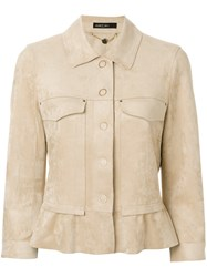 Marc Cain Peplum Button Jacket Nude And Neutrals