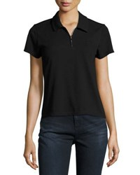 Opening Ceremony Torch Zip Front Polo Shirt Black