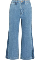 Madewell Cropped Striped Wide Leg Jeans Blue