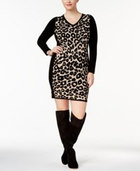 Say What Trendy Plus Size Leopard Print Sweater Dress