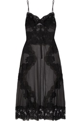 Dolce And Gabbana Chantilly Lace Paneled Chiffon Chemise