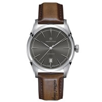 Hamilton H42415591 Men's American Classic Spirit Of Liberty Automatic Date Leather Strap Watch Dark Brown Grey