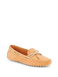 Tod's Lace Up Leather Moccasins Beige