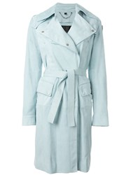 Belstaff Leather Trench Coat Blue