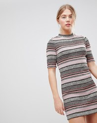 First And I Stripe Bodycon Dress Peach Beige Multi