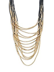 Natasha Layered Multi Strand Necklace Goldtone Gold Black