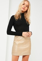 Missguided Gold Aztec Jacquard Mini Skirt