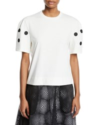 Paskal Dot Applique Cropped Crewneck Tee White Black