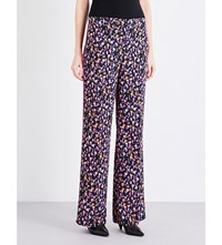 Versace Flared Silk Crepe Trousers Nero Stampa