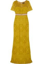 Marchesa Notte Tulle Paneled Embellished Corded Lace Gown Chartreuse