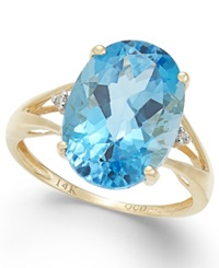 Macy's Blue Topaz 6 1 2 Ct. T.W. And Diamond Accent Ring In 14K Gold