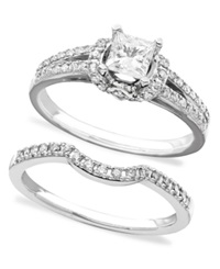 Macy's Engagement Ring And Wedding Band 14K White Gold Diamond Bridal Set 3 4 Ct. T.W.