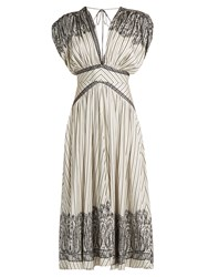 Etro Tie Back Striped Silk Twill Dress Black White