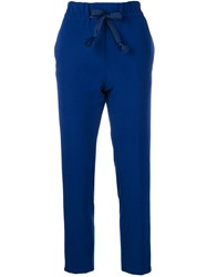 Closed Belted Side Stripe Joggers Blue