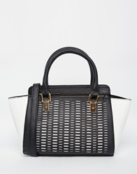 New Look Snake Cutout Wing Tote Blackpattern