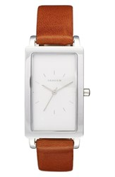 Women's Skagen 'Hagen' Leather Strap Watch 22Mm X 43Mm