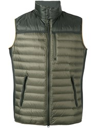 Parajumpers Banded Neck Gilet Men Feather Down Polyamide Polyester M Green