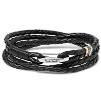 Paul Smith Woven Leather Wrap Bracelet Black