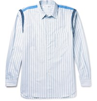 Comme Des Garcons Shirt Slim Fit Striped Cotton Poplin Shirt Blue