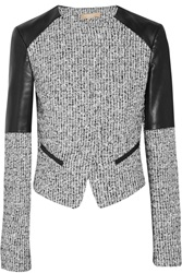 Michael Kors Leather Paneled Tweed Jacket Gray
