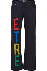 Etre Cecile Printed Mid Rise Straight Leg Jeans Blue