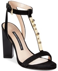 French Connection Melvyn T Strap Jewel Dress Sandals Women's Shoes Black