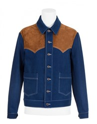 Umit Benan Western Jacket With Embroidered Back Blue Tabacco