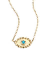 Anzie Dew Drop Turquoise Evil Eye Pendant Necklace Gold Turquoise