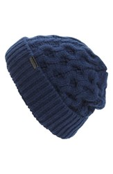 Burberry Men's Aran Blanket Knit Beanie Blue Dark Navy