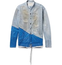 Greg Lauren Birdwell Grandad Collar Panelled Distressed Denim And Nylon Shirt Light Denim