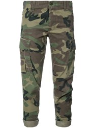 Re Done Camouflage Print Cropped Trousers Green