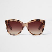 River Island Womens Beige Leopard Print Cat Eye Sunglasses