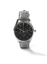 Topman Grey And Black Leather Watch