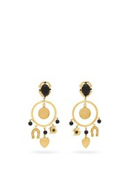 Dolce And Gabbana Faux Onyx Hoop And Charm Earrings Gold