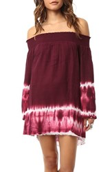 Junior Women's O'neill 'Madison' Tie Dye Off The Shoulder Cover Up