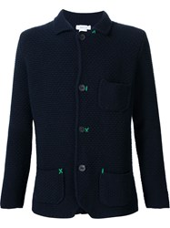 Avant Toi Contrast Stitching Textured Button Down Cardigan Blue