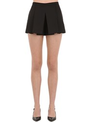 Red Valentino Pleated Cotton Shorts Black