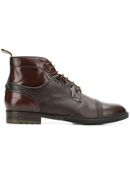 Brimarts Pebbled Lace Up Boots Brown