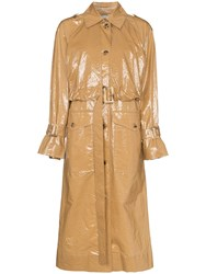 Rejina Pyo Belted Laminated Cotton Trench Coat Brown