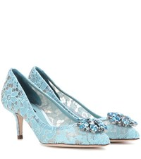 Dolce And Gabbana Bellucci Embellished Lace Pumps Blue
