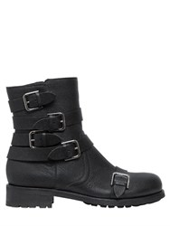 Jimmy Choo 20Mm Multi Buckle Textured Leather Boots