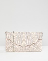 New Look Scallop Pearl Embellished Clutch Bag Cream