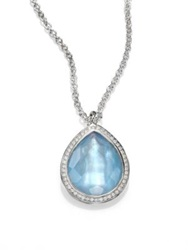 Ippolita Stella Swiss Blue Topaz Mother Of Pearl Diamond And Sterling Silver Teardrop Doublet Pendant Nec
