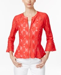 Inc International Concepts Petite Lace Peplum Jacket Only At Macy's Hibiscus Bloom