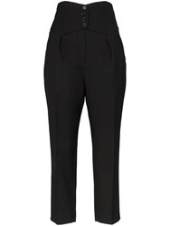Saint Laurent High Waisted Tailored Cropped Wool Trousers Black
