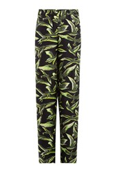Emilio Pucci Wide Leg Silk Twill Pants Black