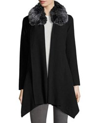 Cirana Hanky Hem Faux Fur Collar Coat Black