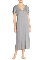 Women's Natori 'Zen' Short Sleeve Nightgown Heather Grey